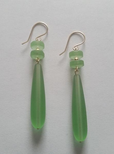 Green Sea Glass Earrings 1