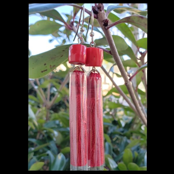 Red Coral Tassel Earrings 1