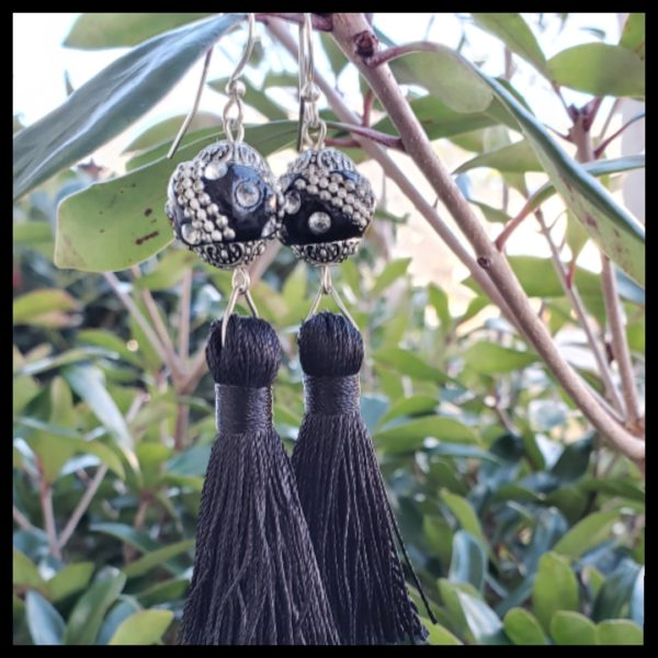 Black Tassel Earrings 1