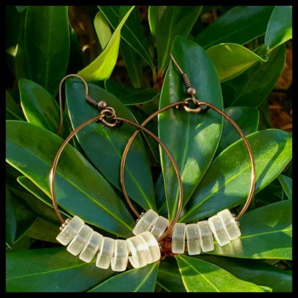 Antique Copper Sea Glass Hoops 1