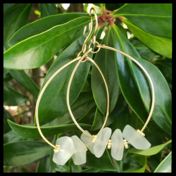 Brass and Sea Glass Hoops 1