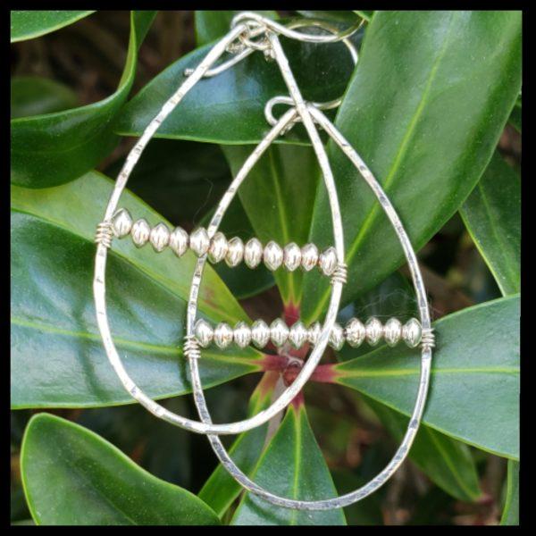 Sterling Silver Oval Beaded Hoop Earrings 1