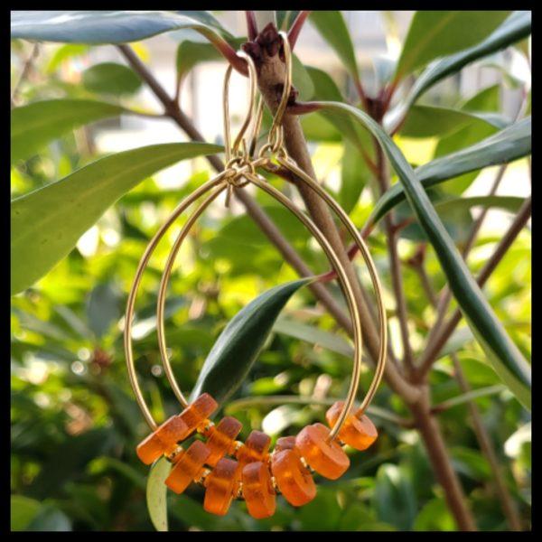 Orange Hoop Earrings 1
