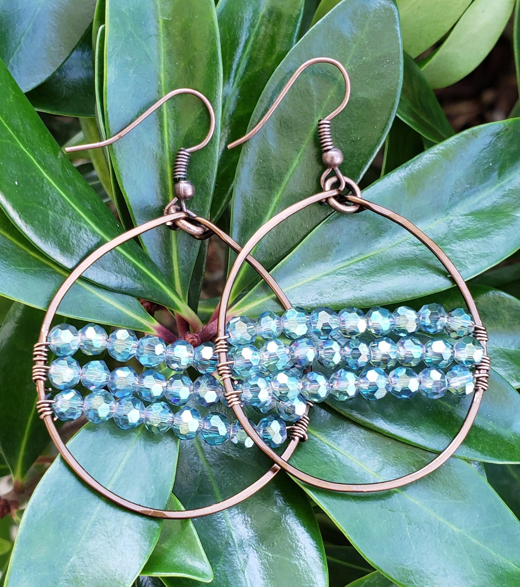 Antique Copper and Crystal Hoops
