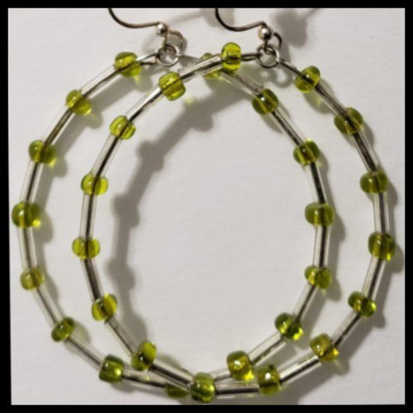 Green Seed Bead Hoops 2