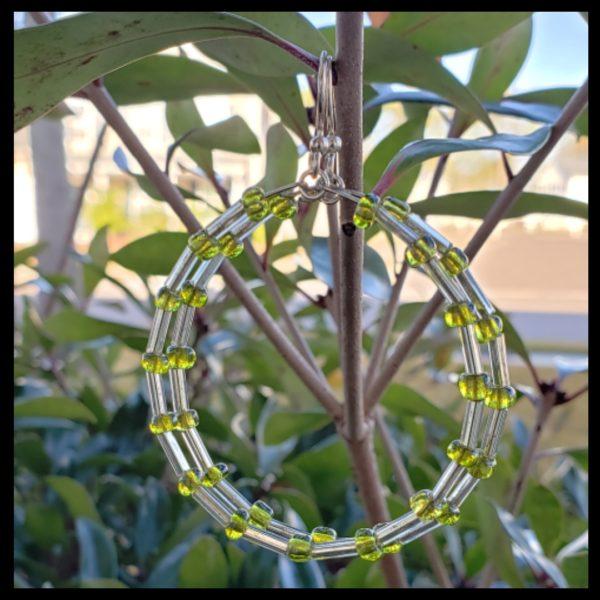 Green Seed Bead Hoops 1