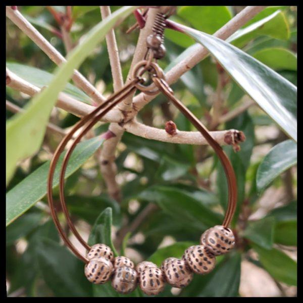 Antique Copper Bead Hoops 1