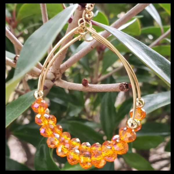 Orange Crystal Hoops 1