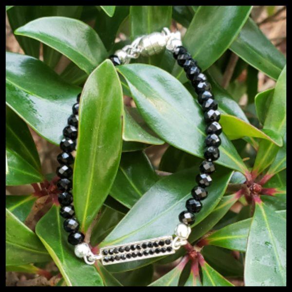 Black Crystal Bar Bracelet 1