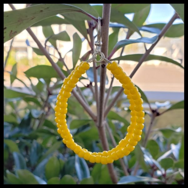 Yellow Beaded Hoops 1