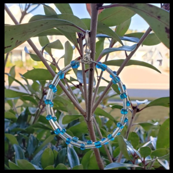 Blue Seed Bead Hoops 1