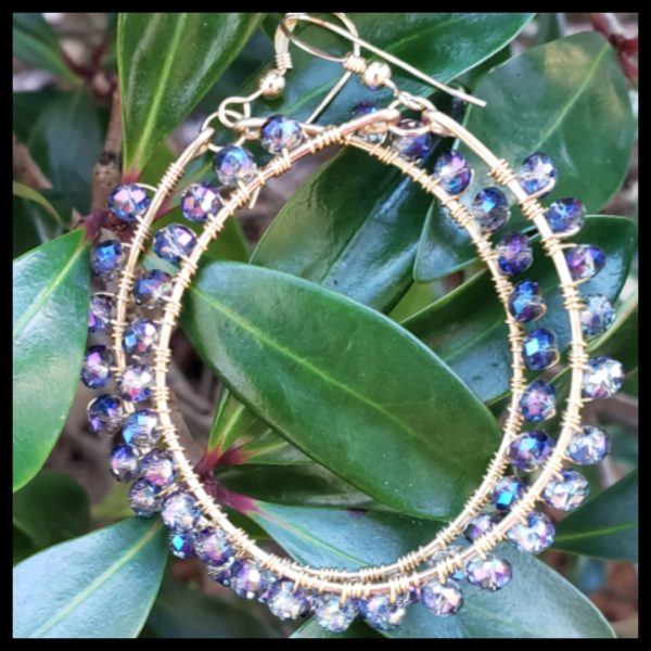 Blue Crystal Hoops 2