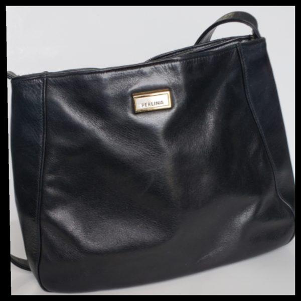Black Leather Perlina Handbag 1