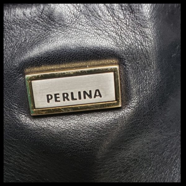 Black Leather Perlina Handbag 2