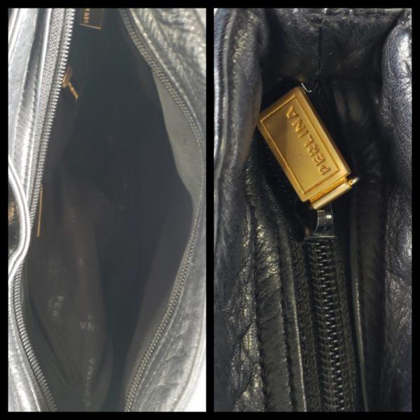 Black Leather Perlina Handbag 5