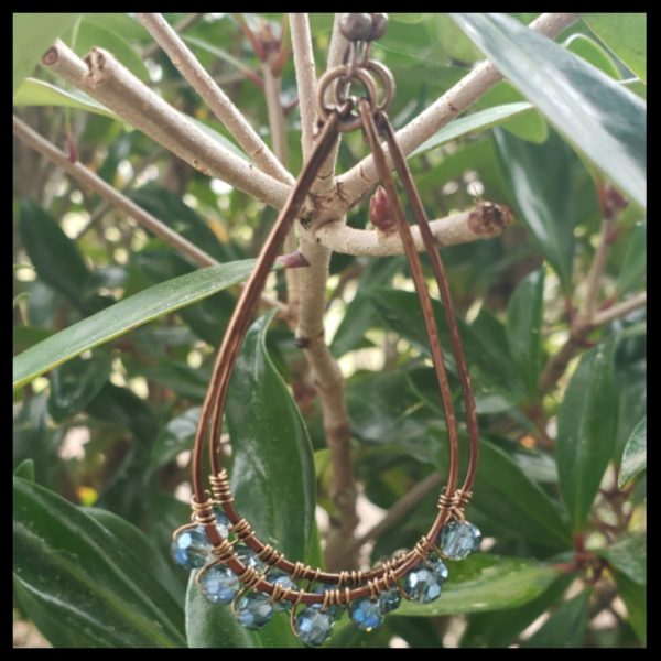 Blue Antique Copper Hoops 1