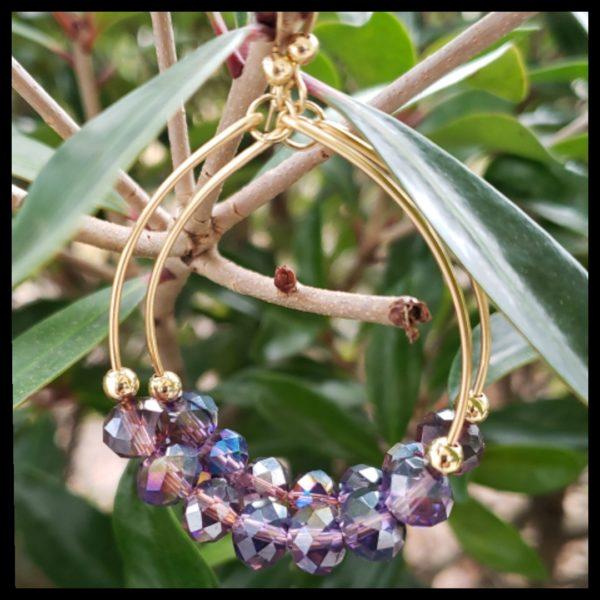 Purple Crystal Hoops 1