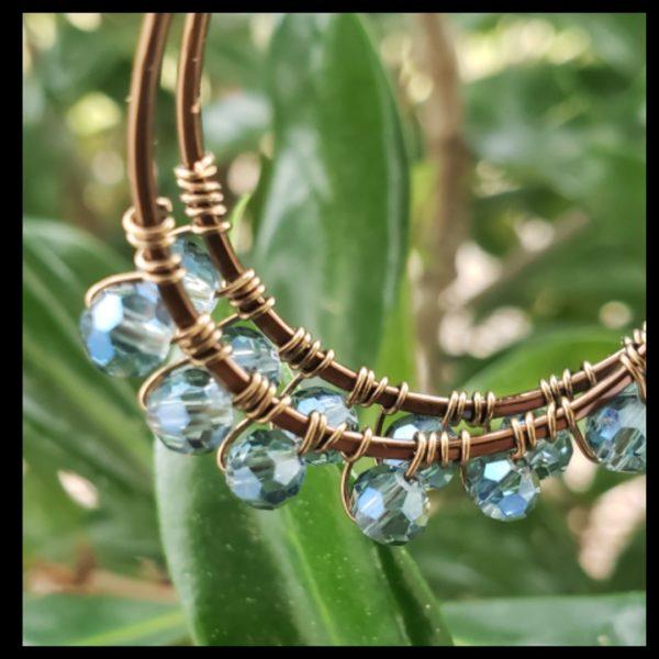 Blue Antique Copper Hoops 2