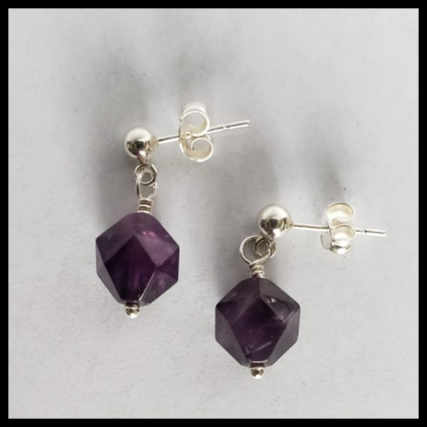 Amethyst Dangle with Post 1