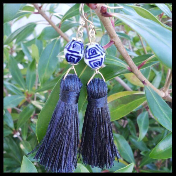Blue and White Tassel Earrings 1