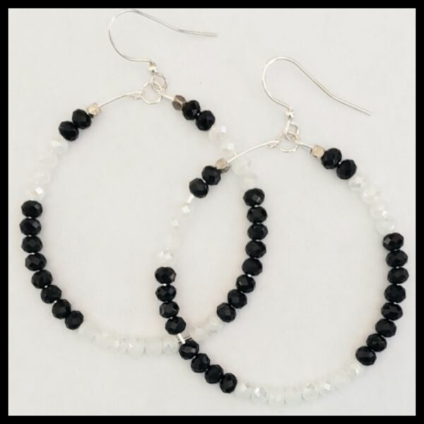 Black and White Sparkle Hoops 2