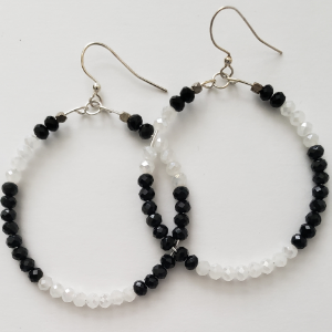 Black and White Sparkle Hoops 1