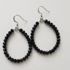 Black Crystal Hoops 1