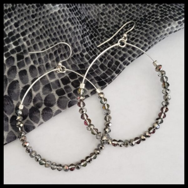 Silver Sparkle Hoops 1
